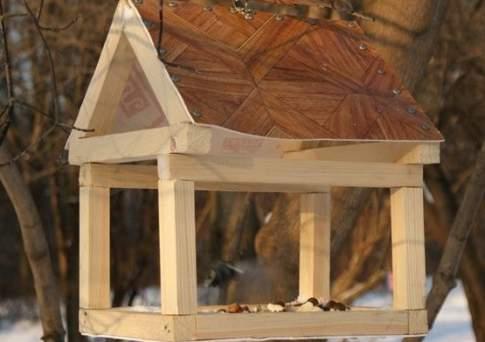 Как сделать кормушку из двп для птиц своими руками